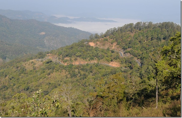 Road climbs towards Pai